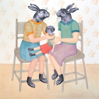 Claude jones_Rabbits Revenge_2014_mixed media on paper_110 x 104cm