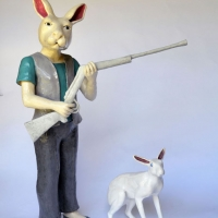 Claude jones_bent on destruction_2013_glazed ceramic and polymer clay_ figure 120x70x28 figure and 30x35x15cm rabbit